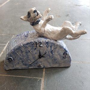clock, mantel clock, ceramic clock, bull terrier