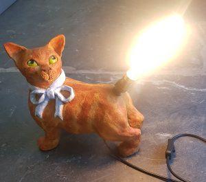 cat lamp, lamp base, ceramic lamp base, ceramic lamps, vintage bulb, handmade, pottery cats, cats, ceramics, studio pottery, jane adams ceramics