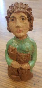 ceramic lady, cat lady, ceramic people, jane adams ceramics, cats, pottery people, pottery cats,