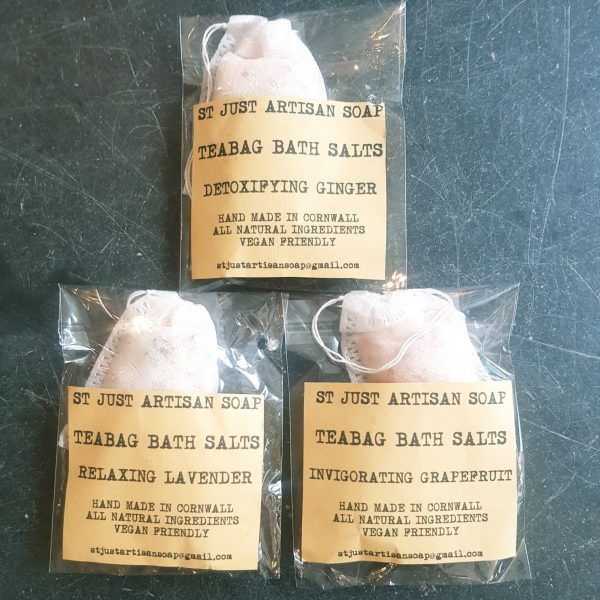bath salts, handmade bath salts, teabag bath salts, epsom salts, himalayn pinik salt, st just artisan soap