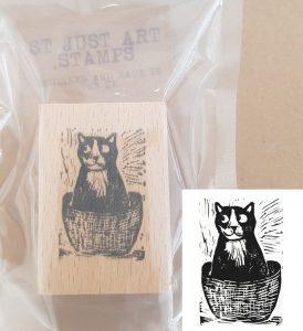 st just art stamp, art stamp, rubber stamp, rubber stamping, stamping, collaging, scrapbooking, printing, lino printing, cat stamp